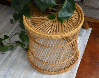 Vintage Wicker Side Table  / Wicker Plant Stand-Side Table / Mid Century Side Table Plant Stand Stool