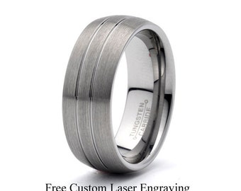 Tungsten Wedding Band Domed Ring Brushed band mens wedding ring wedding band Anniversary Band Groove line tungsten carbide custom band