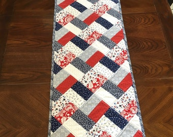 Modern Patriotic Quilted Table Runner, Memorial Day, 4th of July, Veterans Day