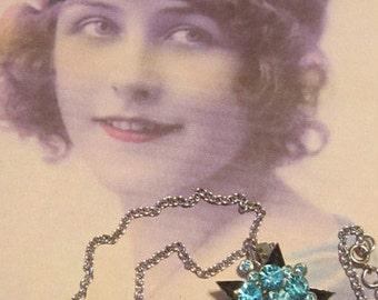 Vintage Blue Rhinestone Star Necklace