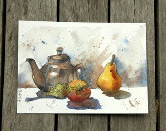 Still life with teapot and fruit, original watercolour painting, still life of kitchen scene with teapot, apple and pear.