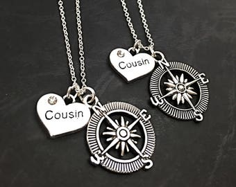Cousin Compass necklace set of 2, best friend necklaces for 2, friendship jewelry, distance friends, 2 bff necklaces, gift for best cousins