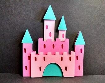 Pink Princess Castle Shaped Birthday Card , Girl's Birthday Card , Princess Castle , Princess, Birthday