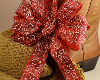 Red Bandanna Bow, Red Bow, Summer Bow, Country Bow, Wreath Bow, Basket Bow, Decorative Bow