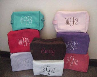 Personalized Initials Cosmetic Waffle Large Size Bags bridesmaids makeup case, Initials make up bags, toiletries, Bridal Party Embroidered