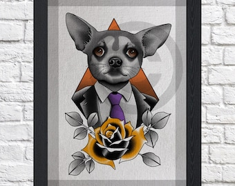 Dog Art Print - A4 - Chihuahua Art Print - Digital Download - Animal Print - Wall Art Room Decor