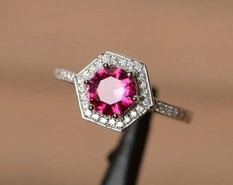 lab ruby ring octagon gemstone ring sterling silver July birthstone ring