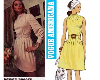 Vogue Americana 2263 DONALD BROOKSWomens Funnel Neck Dress 1970s Vintage Sewing Pattern Size 14 Bust 36 UNCUT Factory Folds
