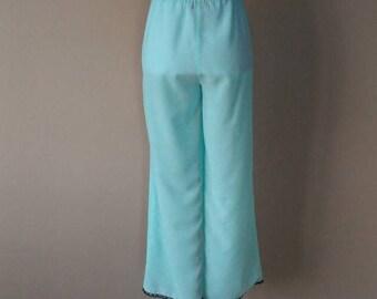 S / Bottoms / Turquoise w/ Black Lace Trim / Pajama Pants Lounge Wear  / Small