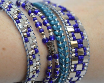 Silver and blue beaded wrap bracelet