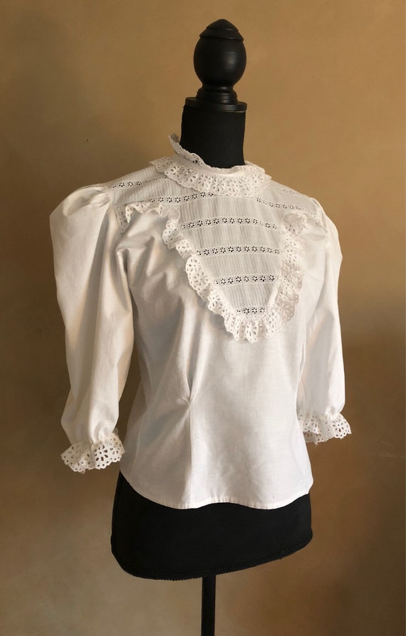 Vintage White Cotton Prairie Blouse High Lace Neckline With Lace accents & Ruffles