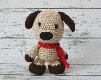Petey the Puppy, Crochet Puppy Stuffed Animal, Puppy Amigurumi, Plush Animal, MADE TO ORDER