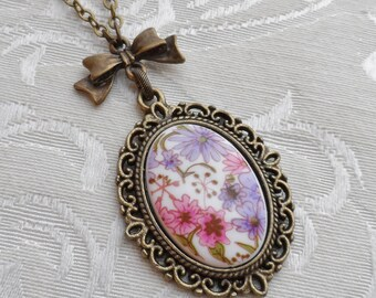 50% Off Classic Bow Vintage Cameo- Pink and Purple Flowers