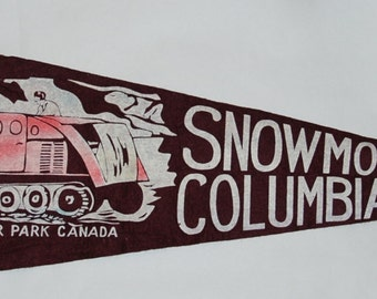 Genuine Vintage Original 1940s-'50s Felt Pennant of Snowmobile Tour Columbia Ice Fields, Jasper, Alberta -- Free Shipping!