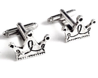 Silver Crown Cufflinks, Men's Handcrafted Royalty Ruler King Prince Cuff Links- Groom Wedding Prom Gift for Man