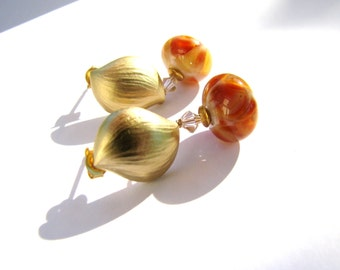 Orange Apricot Yellow Lampwork Earrings, Contemporary Brushed Yellow Gold Leaf Stud Earrings, Sterling Silver Studs, Ready to Ship, Gift Box