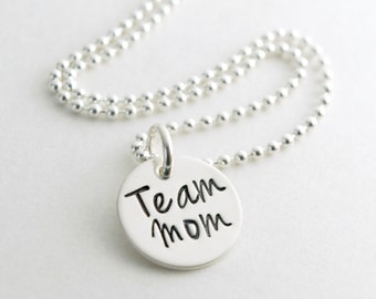 Team Mom Necklace - Team Mom Gift - Hand Stamped Sterling Silver Necklace - Gift for Team Mom Sports Jewelry