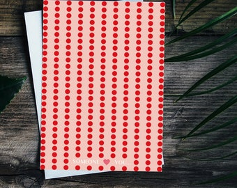 Card for someone you love, valentines day card, polka dot card