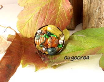 Ring squash in fimo and metal color bronze