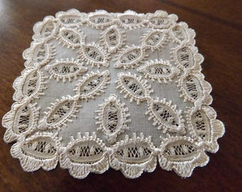 Vintage Lace Doilie/Coaster 1930_Intricate Handmade Lace_One Of A Kind Doilie Perfect Condition