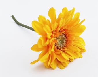 Bright Yellow Gerbera Daisy | Millinery Flowers | Wedding | Flower Crown | Wreath Supplies | Artificial Daisy | Summer | The Blue Hutch