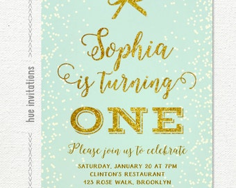 mint and gold first birthday invitation, girls 1st birthday invite, mint turquoise blue green gold glitter and girly bow, digital file n81