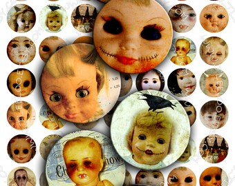 Digital paper CREEPY DOLL 1 inch circle scary horror halloween pendants magnet stickers pendant craft instant download printable - tn178