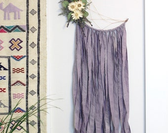 Lavender Purple Moon Dream Catcher with Dried Flowers