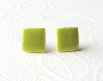 SALE! Square Porcelain Earrings. Greenery. Lime Green. Olive. Yellow Green. Ceramic. Clay. Mini Studs. Surgical Steel. Lightweight. Comfy