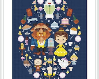 Disney cross stitch pattern Beauty and the Beast cross stitch PDF Instant Download Disney princess Belle cross stitch X235