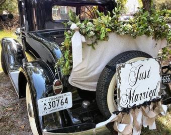 JUST MARRIED SIGN, Ring Bearer Sign, Flower Girl Sign, Just Married Car Sign, Shabby Chic Wedding Sign, Getaway Car Sign, Vintage Wedding