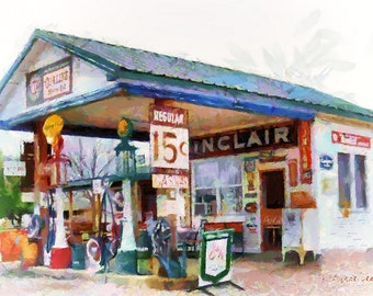 Sinclair Gas - Giclee' Print on Watercolor Paper