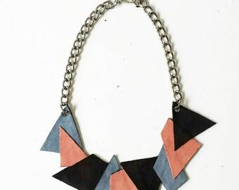 Black geometric necklace/coastal sugar paper