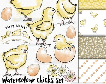 Easter chicks clip art - watercolor clipart with coordinating backgrounds - instant download - royalty free -commercial use