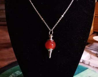 """18"""" Red Carnelian Scrying Pendulum necklace with Scrying chain and black pouch included"""