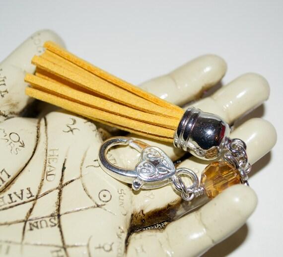 Tassel Key Charm, Zipper Pull, Purse Charm, Boho Bag Charm, Yellow Tassel Keyring, Boho Tassel Charm, Purse Clip, Bag Charm, Tassel Zip Pull