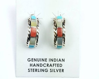 Native American Zuni handmade Sterling Silver inlay Turquoise Coral Mother of Pearl half hoop stone earrings