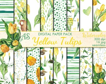 Digital Watercolor Yellow Tulips Seamless Paper Pack, 16 printable Scrapbooking papers, Floral Collage, Decoupage, Instant Download, set 371