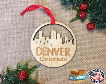 Denver Colorado Ornament *** Skyline Christmas Holiday Ornament *** CO