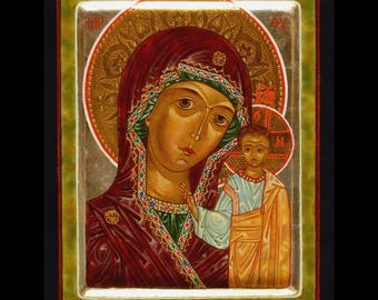 Icon of Our Lady of Kazan-hand-painted on Linden table