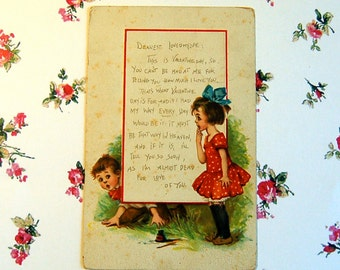Vintage Flirting Boy & Girl Valentine Post Card, Brundage
