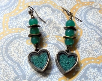 Teal Blue and Brass Heart Earrings (2793)