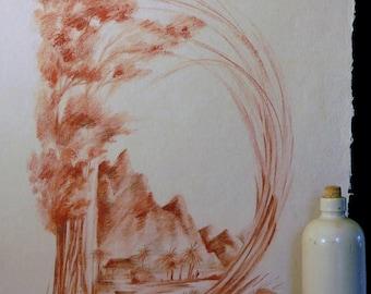 Initial monogram D - original drawing - Daniele block Bader - sanguine chalk - 65 cm x 50 cm (25 inc x 15 inc.)