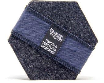 Hexagon Merino Wool Felt Coaster Set – Charcoal Gray – 5MM Thick
