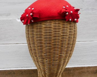 1940's, 1950's Red Felt Beret or Mini Hat Fascinator with Felt Flowers