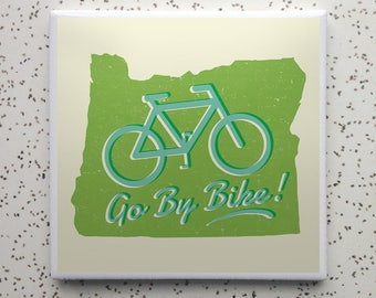 Go By Bike Oregon Tile Coaster