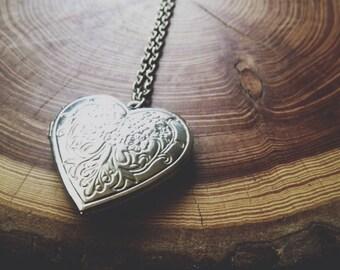 long locket necklace - silver heart decorative