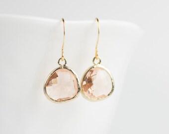 Light Peach Quartz Gold Earrings, Peach Gold Drop Earrings, Peach Earrings, Gold Earrings, Bridesmaid Earrings, Wedding Jewelry