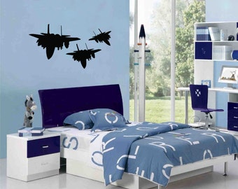 New Fighter Jets In Formation Black Wall Decal Wall Stickers Large 92cm X 58cm