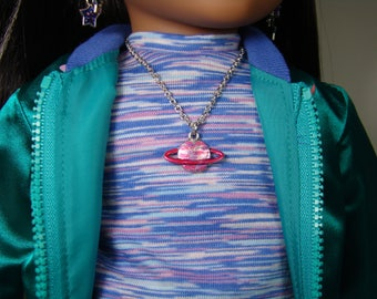 "2 in 1 Planet Necklace Set for 18"" Play Dolls such as American Girl® Luciana"